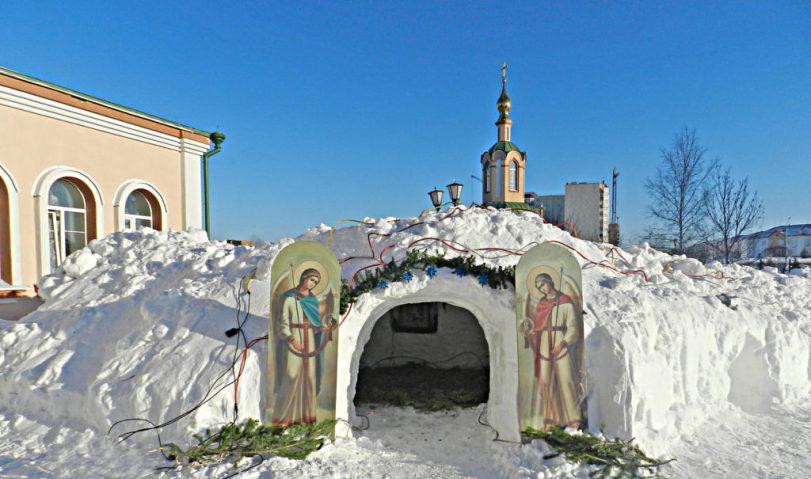 рождественский снежный вертеп